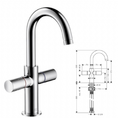 Hansgrohe Axor Uno 2 - 2 Handle Basin Mixer For Small Basins - Model Number 38045000
